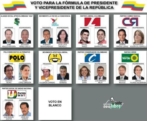El voto en blanco ocupa un espacio en toda tarjeta electoral. Aquí, el tarjetón de las pasadas elecciones presidenciales de 2010.